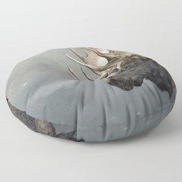 Eerik the Sami Shaman and Hirvi the Moose Floor Pillow