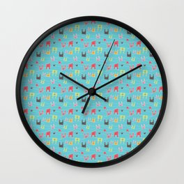 Colorful bunnies on blue background Wall Clock