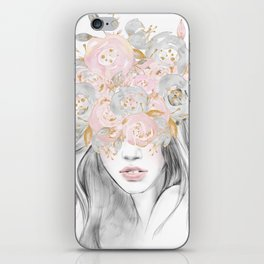 She Wore Flowers in Her Hair Rose Gold by Nature Magick iPhone Skin