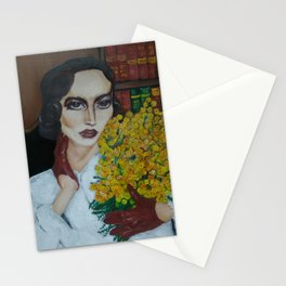 Portrait of The Retro Lady with Mimosa Stationery Cards