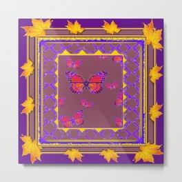 Amethyst Color Art Monarch Butterflies Yellow-Purple Metal Print