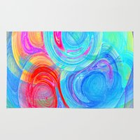 planets Area & Throw Rugs featuring abstract planets by haroulita