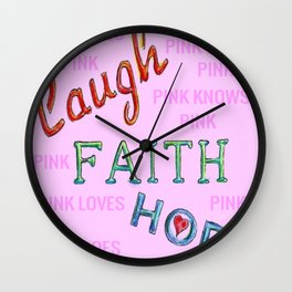 Pink Cares Wall Clock