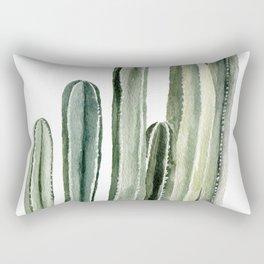 Tall Cacti Watercolor Painting Rectangular Pillow