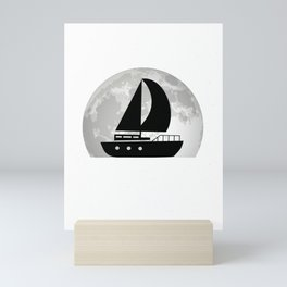 Sailboat Moon Captain Sailor Ship Mini Art Print