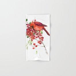 Cardinal Bird and Berries, red green Christmas colors artwork design Cardinal lover Hand & Bath Towel