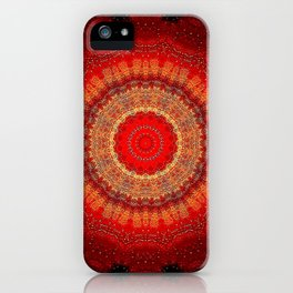 Vibrant Red Gold and black Mandala iPhone Case