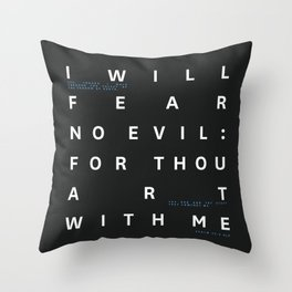 Psalm 23:4 Typography Quote - Blue Throw Pillow