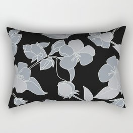Blossoms, Line Drawing in Gray on Rich Black Rectangular Pillow