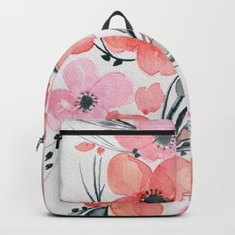 Shades of Red, Pink & Black Floral Mix - Watercolor, Ink & Color Enhanced Digital Art Backpack