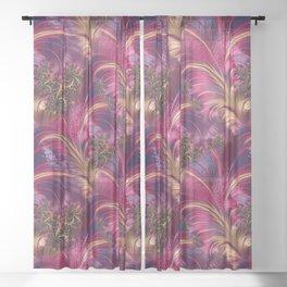Fancy Fractal Fashion Design Pink Gold Sheer Curtain