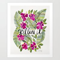 tropical Art Prints featuring Killin' It – Tropical Pink by Cat Coquillette