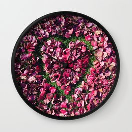 Heart of Love | Red and Pink Fall Leaves Hand Drawn Heart Shape Design Wall Clock