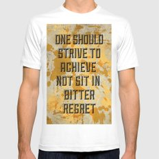 One Should Strive... MEDIUM White Mens Fitted Tee