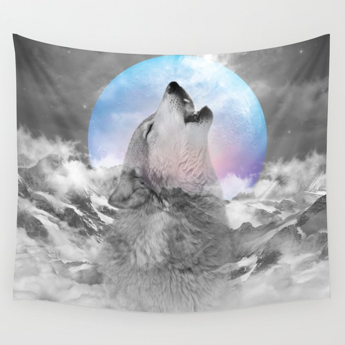 Maybe the Wolf Is In Love with the Moon Wall Tapestry