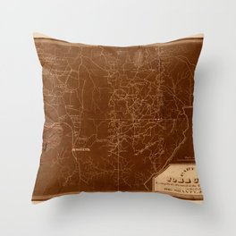 Map Of Georgia 1864 Throw Pillow