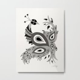 Peacock – Grey Palette Metal Print