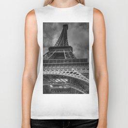Black And White Eiffel Tower Biker Tank