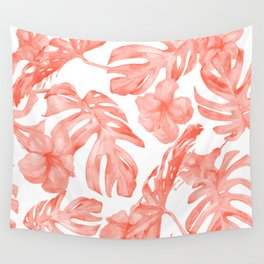 Tropical Hibiscus and Palm Leaves Dark Coral White Wall Tapestry