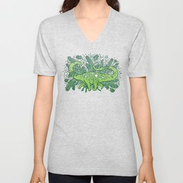 Winter Solstice Sauropod | Evergreens Palette Unisex V-Neck