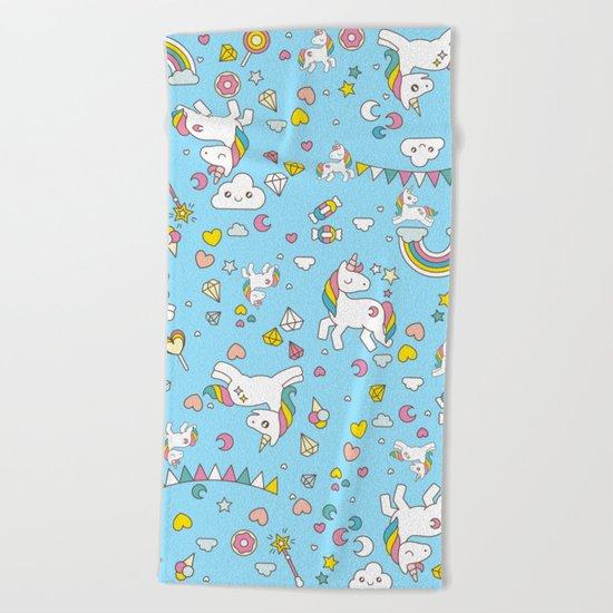 Unicorn Light Blue Pattern Beach Towel