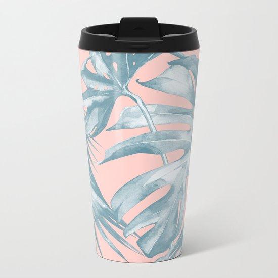 Tropical Leaves Ocean Blue on Coral Pink Metal Travel Mug