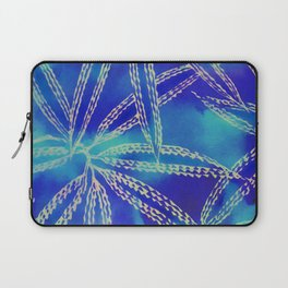 Blue Green Abstract Leaf Pattern Laptop Sleeve