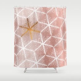 Elegant Geometric Gold Snowflakes Holiday Pattern Shower Curtain