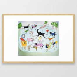 Dogs on Ice! Framed Art Print