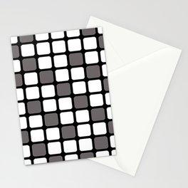 BLACK GREY AND WHITE RECTANGLE TILE  {BASIcs JHD} Stationery Cards