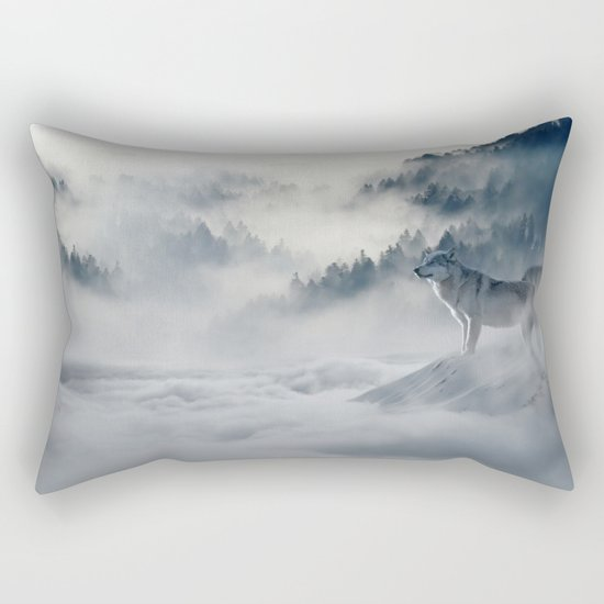 Wolves Among the Snowcaped Mountain Rectangular Pillow