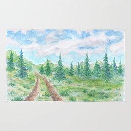 Road in spruce woodlands Rug