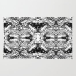 Furoshi - black and white minimal spilled ink abstract painting marble swirl ocean water marbled Rug