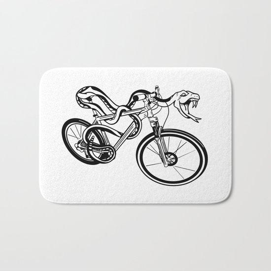 Snake Riding  A Mountain Bike Bath Mat