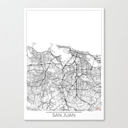 San Juan Map White Canvas Print
