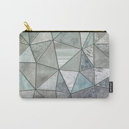 Teal And Grey Triangles Stained Glass Style Carry-All Pouch