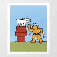 keith haring Art Prints featuring Keith Haring + Charles Schulz by Jared Yamahata