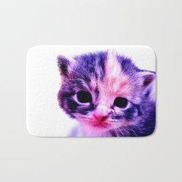 Blue Pink Cute Little Cat Bath Mat