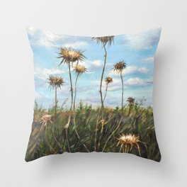 Thorn Fields_oil on wood Throw Pillow