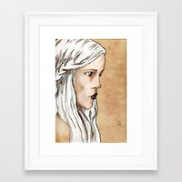 mother of dragons Framed Art Prints featuring Mother of Dragons by Emily Duncan