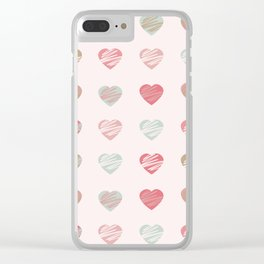 AFE Pastel Hearts Pattern Clear iPhone Case
