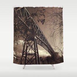 The mistery bridge. Retro Shower Curtain