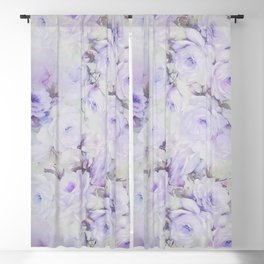 Vintage lavender gray botanical roses floral Blackout Curtain