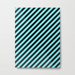 Electric Blue and Black Diagonal RTL Stripes Metal Print