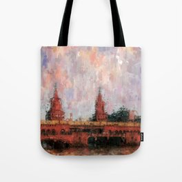 Oberbaumbrücke Berlin City Painting / impressionism style Illustration  / abstract landmarks drawing Tote Bag