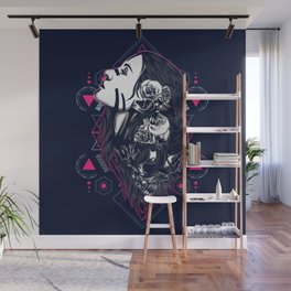 women with tattoo sacred geometry Wall Mural