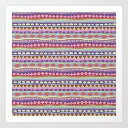 Stripey-Coolio Colors Art Print