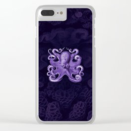 Octopus1 (Purple, Square) Clear iPhone Case