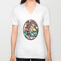 mulan V-neck T-shirts featuring Stained Glass Mulan by Callie Clara