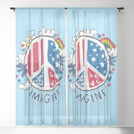 Imagine Love Imagine Peace Sheer Curtain